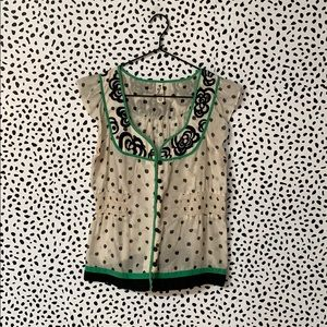 Anthro Floreat Polka Dot Embroidered Blouse